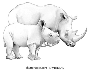 cartoon scene with rhinoceros safari animal coloring page illustration for children