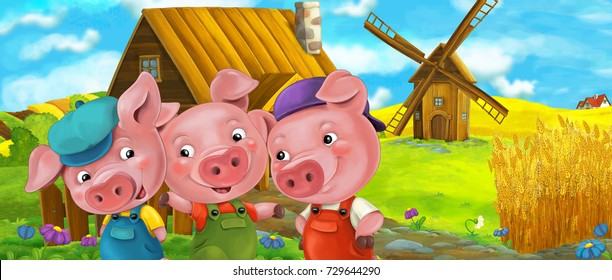 Cartoon scene of three happy pigs standing in front of the village - brothers - illustration for the children