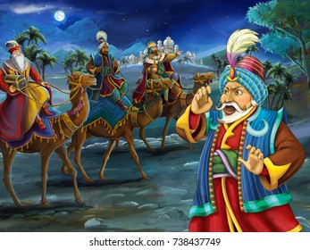 Cartoon scene with three travelers on camels and other one is watching - illustration for children