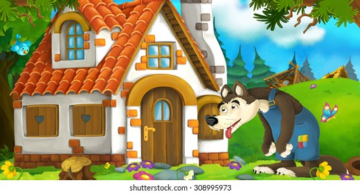 Cartoon scene with tired wolf near village farm house - illustration for the children