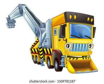 cartoon scene with tow truck looking and smiling with snow plow on white background - illustration for children