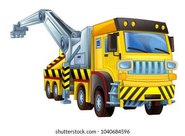 cartoon scene with tow truck on white background - illustration for children