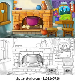 cartoon scene of traditional kitchen - with artistic coloring page - illustration for children