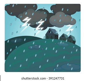 Cartoon scene with weather - storm over the village - thunders - illustration for children
