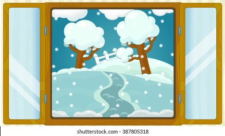 Cartoon scene with weather in the window - winter - snowy - illustration for children