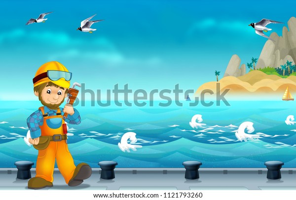 cartoon scene with worker on some harbor doing some work - illustration for children