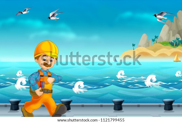 cartoon scene with worker on some harbor doing some work - illustration for children