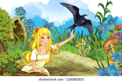 cartoon scene with young beautiful girl and flying cuckoo bird on the meadow - illustration for children