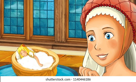 cartoon scene with young woman looking at elf girl sleeping in the chestnut shell - illustration for children