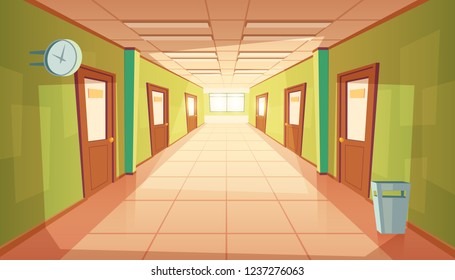 cartoon school or college hallway, university corridor