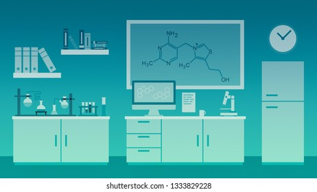 cartoon science research laboratory, abstract design