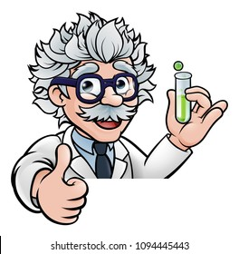 A cartoon scientist professor wearing lab white coat peeking above sign with a test tube and giving a thumbs up
