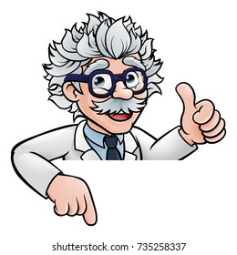 A cartoon scientist professor wearing lab white coat peeking above sign pointing and giving a thumbs up