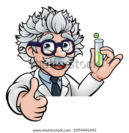 A cartoon scientist professor