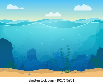Cartoon Sea Underwater Nature Scene Color Background Web Flat Design with Seaweed and Sand Place for Text. illustration of Undersea Landscape