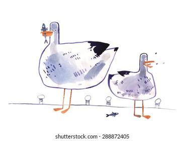 Cartoon seagull hand drawn watercolor Illustration