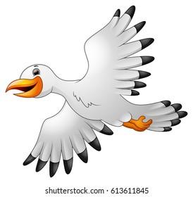 Cartoon seagulls flying