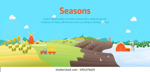 Cartoon Seasons Summer, Autumn, Winter and Spring Time of Year Landscape Background Card Poster Flat Design Nature Scene. illustration of Season