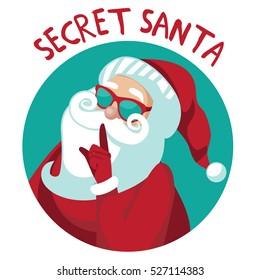 Cartoon Secret Santa Christmas illustration with Santa Claus shushing you with his finger.