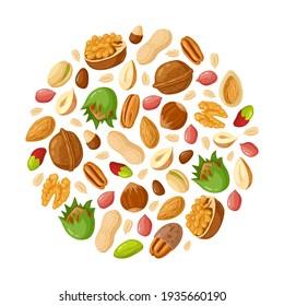 Cartoon seeds and nuts. Almond, peanut, cashew, sunflower seeds, hazelnut and pistachio. Nut food  illustration set
