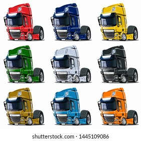 Cartoon semi trucks set isolated on white background