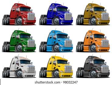 Cartoon semi trucks set. Vector version see in my portfolio