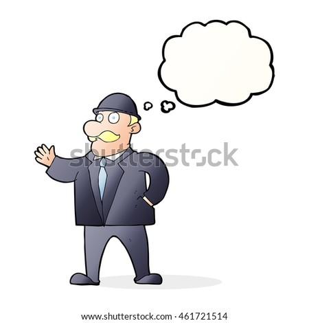 Cartoon Sensible Business Man Bowler Hat Stock Illustration