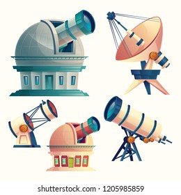 cartoon set with astronomical telescopes, observatories, planetarium, satellite dish. Scientific equipment and optical devices with lenses for observation the sky, stars, cosmos, planets