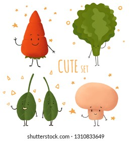 Cartoon set with cute vegetables characters. Cute design. Vegetarian food. Funny cartoon characters. Greeting card design.