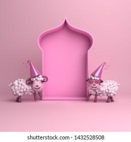 Cartoon sheep, arabic window on pink pastel background copy space text. Design creative concept for islamic celebration day ramadan kareem or eid al fitr adha. 3d rendering illustration.
