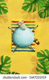Cartoon sheep in bright glasses taking a sunbath. Greeting card, poster template.