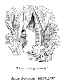 Cartoon showing a husband and wife living in a jungle, who love working remotely.