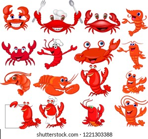 Cartoon shrimp and crab collection set