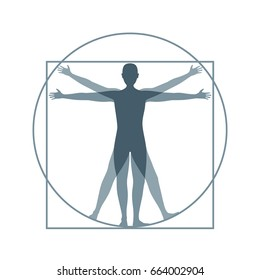 Cartoon Silhouette Vitruvian Man Proportion, Human Anatomy. Flat Design Style. illustration