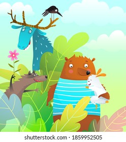 Cartoon silly animals in the wild, kids fairytale design of happy cute wild characters in the forest, stylised watercolor style illustration.