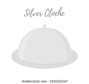 Cartoon silver cloche - restaurant dish with cup. Shining chrome of tray, metallic grey platter. Kitchen flatware to cover food.