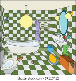 Cartoon sketch of a bathroom