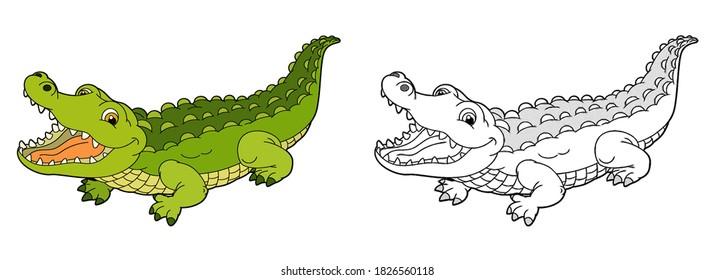 cartoon sketch scene with alligator crocodile illustration for children