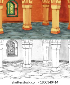 cartoon sketch scene with medieval arabic room - far east ornaments - the stage for different usage - illustration for children