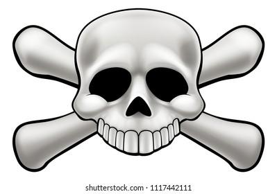 A cartoon skull and crossbones illustration