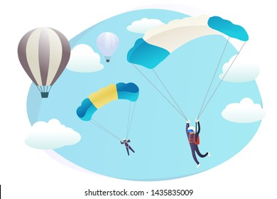 Cartoon skydivers and flying balloons background web page. Skydiving illustration with copy space. Flat style character doing parachute jump