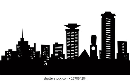 Cartoon skyline silhouette of the city of Nairobi, Kenya.