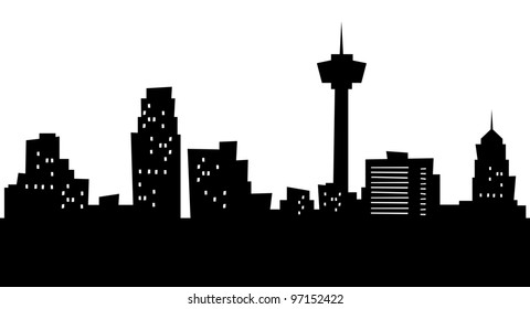 Cartoon skyline silhouette of the city of San Antonio, Texas, USA.
