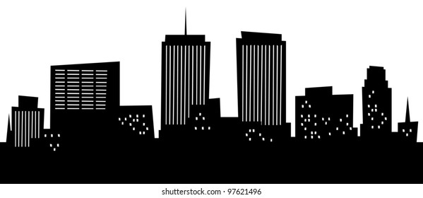 Cartoon skyline silhouette of the city of Syracuse, New York, USA.