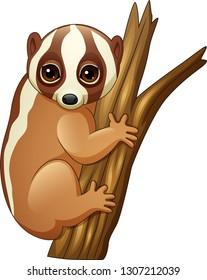 Cartoon slow loris on the branch