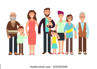 Cartoon smiling happy family. Grandpa and grandma, dady, mom and children illustration