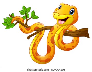 Cartoon snake on branch