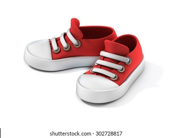 cartoon sneakers 3d illustration