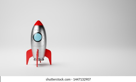 Cartoon Spaceship on White Gray with Copy Space 3D Illustration, Startup Concept