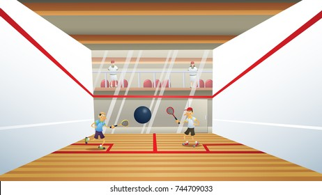 A cartoon squash or racquetball court.